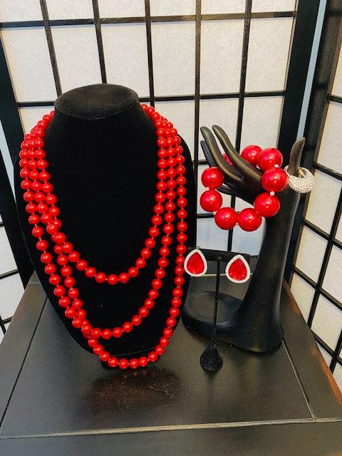 Crimson Glass Pearl Necklace, Bracelet & Ring