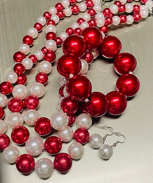Bold Red & White Pearl Necklace, Earrings & Bracelet