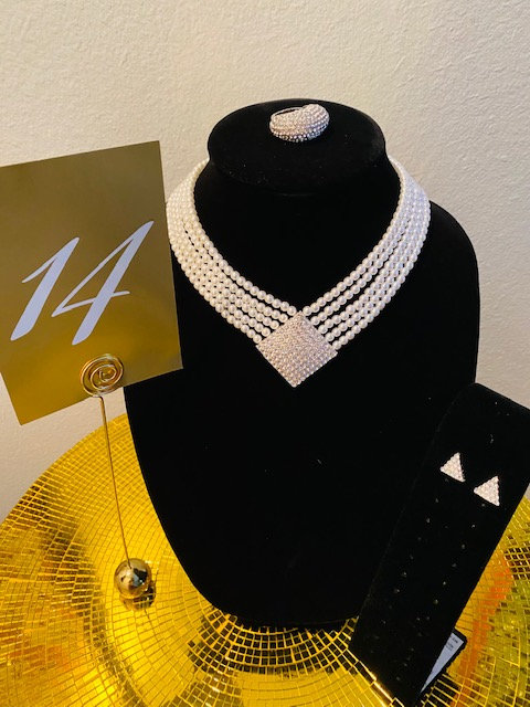 REVEALED - MYSTERY BOX #14 Pearl Silver Rhinestone Necklace and Earrings, Ring