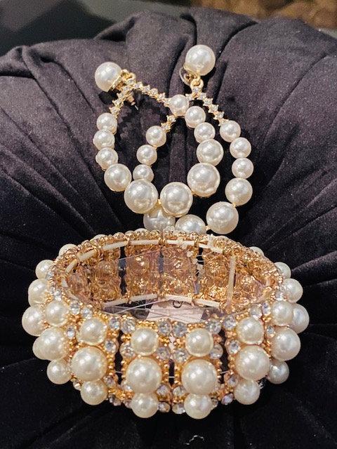 Pearl Bangle, Hoop Earrings & Ring