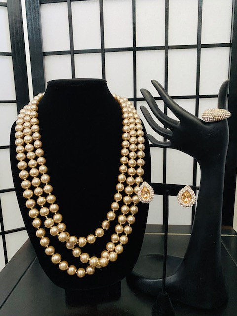 Champagne Glass Pearl Necklace, Earrings & Ring