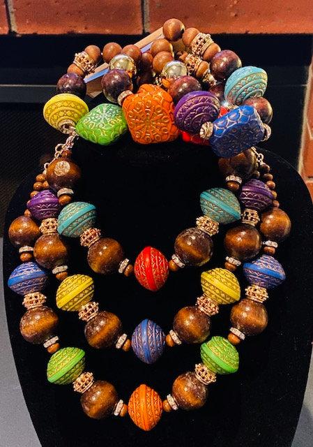 Multi Color Wood Necklace w/Bracelet