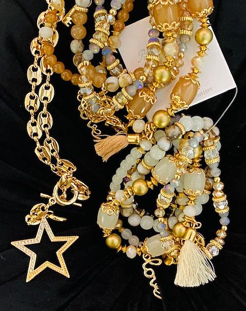 Star Necklace Rhinestone w/Bracelet