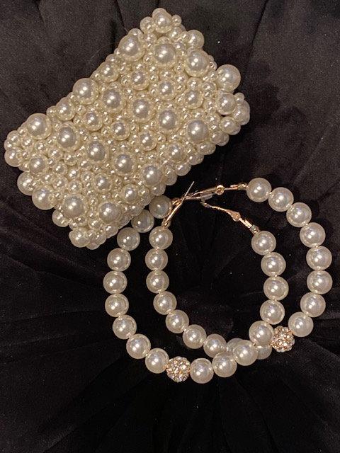 Cuff Pearl w/Hoop Rhinestone Earring