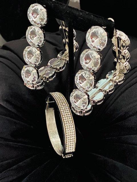 Fabulous Rhinestone Earrings & Bangle