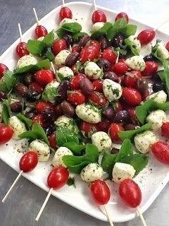 Caprese Skewers and olives