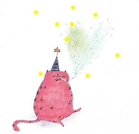 love cats kat katten party cosmic stars illustration illustrator illustratie picture book kidlit