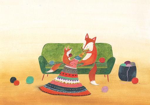 fox hygge home mothe and child motherlove geboortekaart birth announcement card picture book childrens book illustration kidlit prentenboek kinderboek