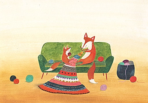 fox hygge home mothe and child motherlove geboortekaart birth announcement card picture book childrens book illustration kidlit prentenboek kinderboek