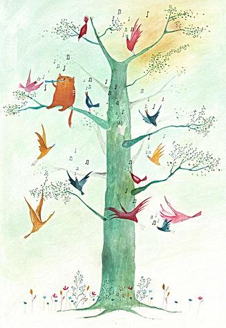 picture book fairy tale kidlit childrens book illustration birds nature cat prentenboek postcard kaart verjaardagskaart bekking en blitz tree