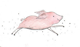 happy happiness cute pig childrens illutration childrens book magic ink watercolor colorpencil freedom