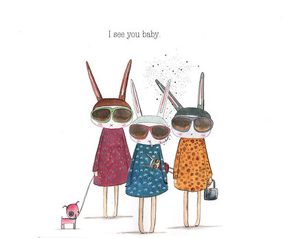 fashion illustration bunnies sunglasses illustration drawing ink watercolor cooles