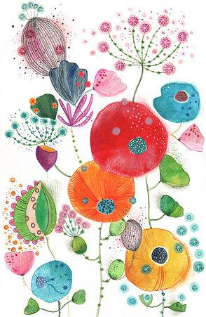 wild botanical illustration fredom garden flowers plants childrens illustration bekking en blitz postcard kaart g