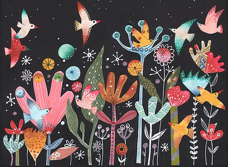 collage night garden gardening magical garden illustration childrens book illustration illustratie illustrator