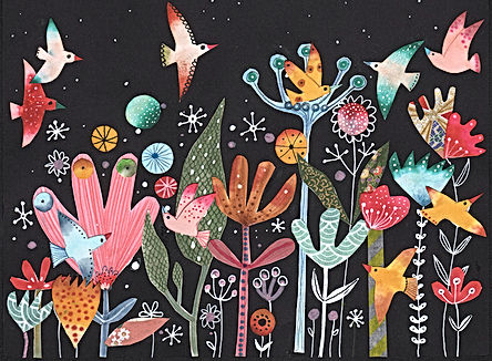 collage night garden gardening magical garden illustration childrens book illustration illustratie illustrator