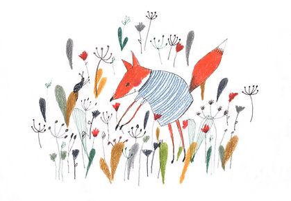 botanical fox kidlit childrens illustration childrensbook prentenboek vos botanisch colorpencil ink watercolor