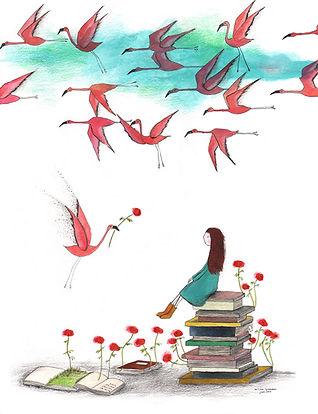 kidlit imagination books reading lezen flamingo illustration illustrator illustratie picture book childrens book prentenboek kinderboek post card kaart bekking en blitz postcard fairy tale magic