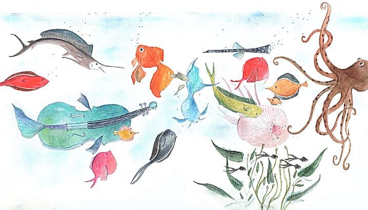 Aquarium, carnaval des animaux saint-saens concertgbouw amsterdam classical music orchestra theatre fish fairy tale sprookje kidlit picture book childrens illustration magic magical