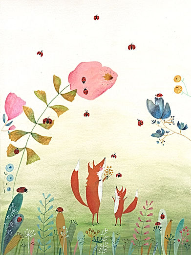 baby newborn birth announcement geboortekaart geboortekaarte birth fox ladybug fairytale kidlit magic picture book childrens book illustration botanical botanisch
