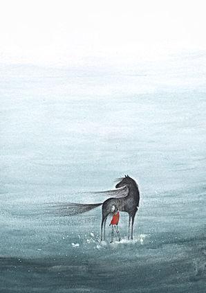 magic sea horse imagination watercolor ink illustration childrens bok illustration, illustratie oostindische inkt poster