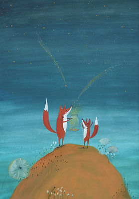 fox magic fairy tale stars starcatcher nightsky mother and child birth announcement card geboortekaart picture book kidlit childrens book illustration prentenboek kinderboek