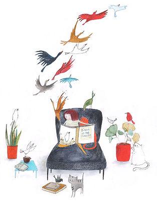 bekking en blitz post card kaart birds vogels books boeken illustration illustratie illustrator childrens book picture book prentenboek kinderboek lezen reading kidlit magic fairy tale