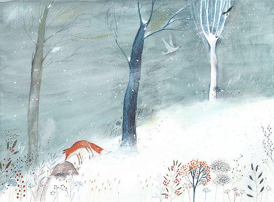 winter magic fairy tale illustration nature fox forest winter forest illustratie vos bos winterbos prentenboek childrens book illustration
