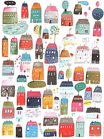 illustration childrens book illustration home houses pattern pattern design illustratie tekening