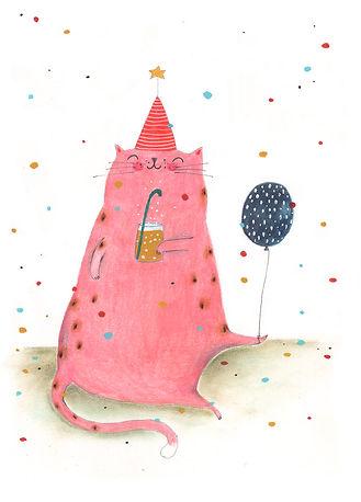 cat kat birthday party verjaardag gefeliciteerd bekking en blitz post card kaart illustrator illustration illustratie cats picture bok kidlit celebration party postcard verjaardagskaart