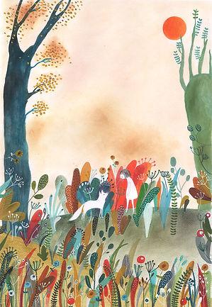 kidlit childrens book illustration picture book fairy tale wolf gouache paintin watrcolor ik colorpencil illustration drawing prentenboek sprookje illustratie tekening magic