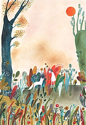 kidlit childrens book illustration picture book fairy tale wolf gouache paintin watrcolor ik colorpencil illustration drawing prentenboek sprookje illustratie tekening magic