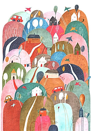 Hills illustration childrens book illustration drawing tekening illustratie illustrator pattern pattern design