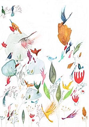 birds vogels postkaart bekking en blitz stationary prentenboek kinderboek childrens book picture book illustration illustratie illustrator postcard nature botanical birds