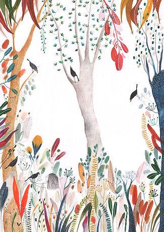 kidlit magic spirit bird fairy tale sprookje illustration illustrator illustratie magie picture book prentenboek childrens book kinderboek forest botanical