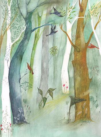 groei en bloei illustratie tekening waterverf botanisch botanical woods birds illustration drawing magazine