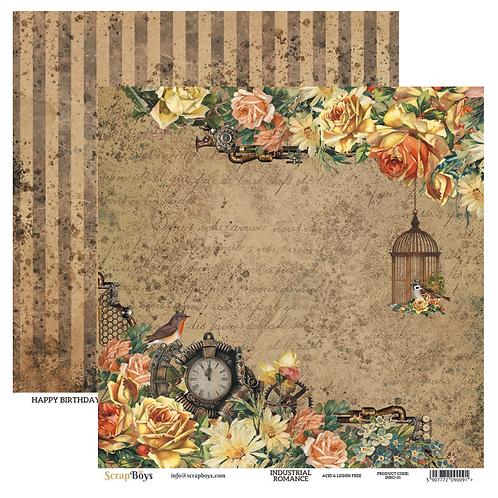 ScrapBoys Industrial Romance 12x12 Paper - INRO-01