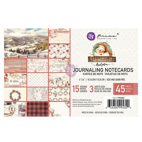 Prima 4x6 Christmas in the Country - Journaling Cards