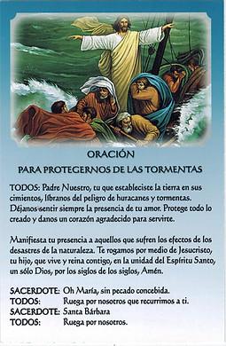 PARA PEDIR POR LA PROTECCION DE LAS TORMENTAS