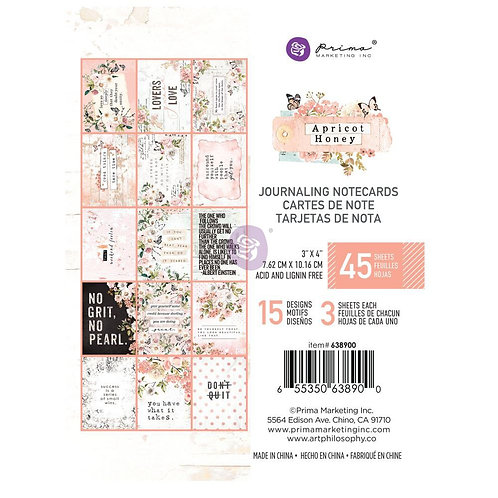 Prima 3x4 Apricot Honey - Journaling Cards