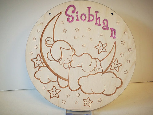 Plaque girl on the moon