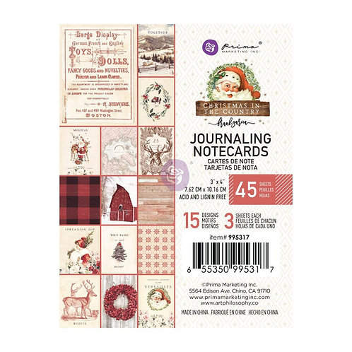 Prima 3x4 Christmas in the Country - Journaling Cards