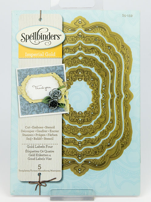 Spellbinders Nestabilities Imperial Gold: Gold Labels Four (S5-159)