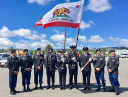 2017 Spring into Summer Parade - joint SMFD SMPD honor guard with members of the 101st airborn