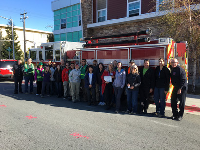 CERT class in front of fire engine