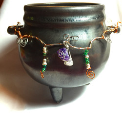 Cauldron with Wire-Wrapped Crystals