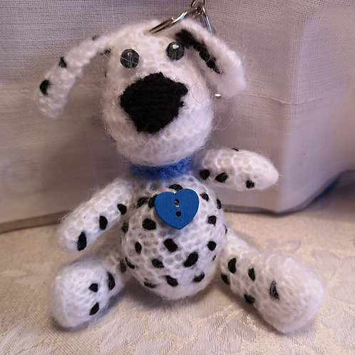 Knitted Dalmatian Keyring