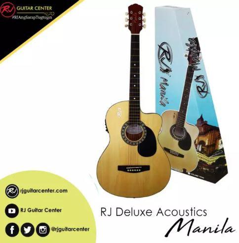 RJ Deluxe Manila Folk Steel Acoustic Guitar - Natural (EQ w/ Tuner)