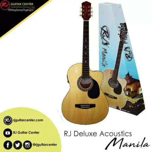 RJ Deluxe Manila Folk Steel Acoustic Guitar - Natural (EQ w/ Tuner)