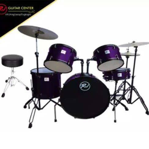 RJ Drumset with Cymbal & Throne - Metal Purple
