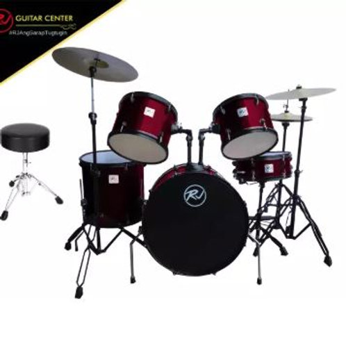 RJ Drumset with Cymbal & Throne - Wine Red